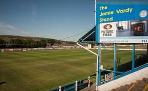 The Jamie Vardy stand at Stocksbridge Park Steels FC's ground.