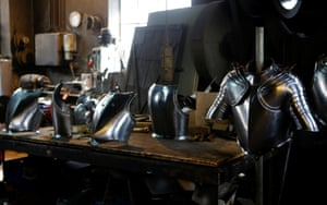 Suits of armour for the Vatican's Swiss Guards are pictured at a workshop in Molln, Austria