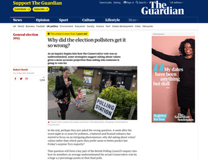 A screenshot of a Guardian article with new signposting that shows the article is three years old