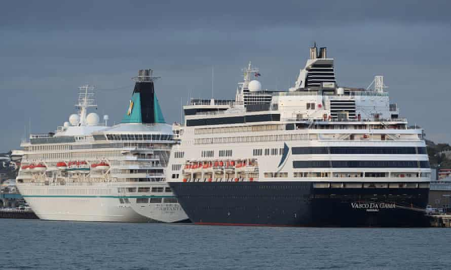 The Artania and Vasco Da Gama cruise ships berthed at the Fremantle Passenger Terminal on 27 March 2020