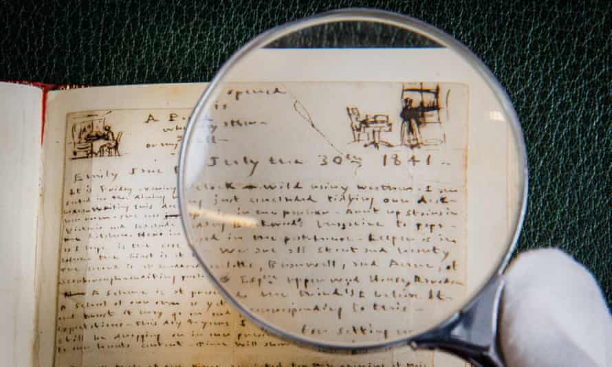Emily Brontë and Anne Brontë, Autograph manuscript birthday notes, with sketches by Emily, 1841 (6)
