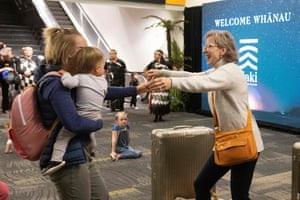 Wellington, New Zealand. Families are reunited after travellers arrive on the first flight from Sydney, as Australia and New Zealand open a trans-Tasman quarantine-free travel bubble