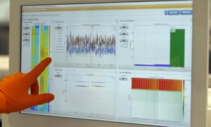 A lab assistant points at charts of a sequenced Covid-19 virus at the Wellcome Sanger Institute  in Cambridge