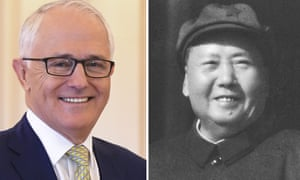 Composite of Prime Minister Malcolm Turnbull and file photo of Mao Zedong from 1966.
