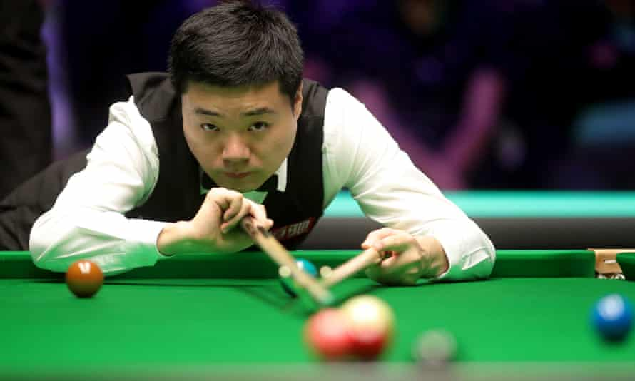 Ding Junhui at the table during his 10-6 victory over Stephen Maguire in the final of the UK Championship at the York Barbican.