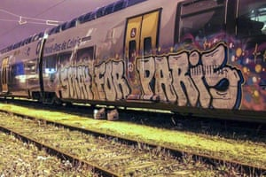 Trains, a traditional target for graffiti artists around the world, have also been tagged with the Spray For Paris message.