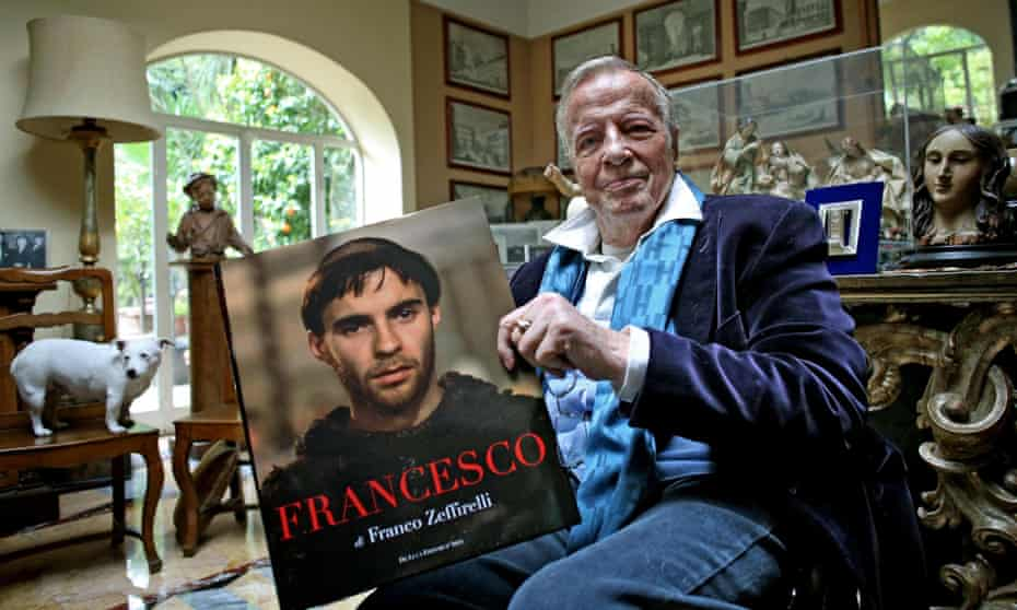 Franco Zeffirelli with a self-penned book, at home in Rome, 3 April 2014.