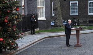 Boris Johnson giving his speech outside No 10.