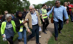 Jeremy Corbyn leaves after speaking at an anti-racism rally in north London.