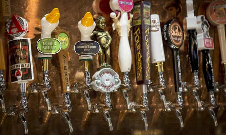 A selection of beers at a bar in New York