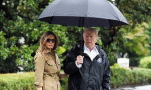 Donald and Melania Trump before visiting people in Texas hit by Hurricane Harvey