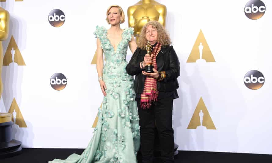 Jenny Beavan, with Cate Blanchett, after winning best costume design for Mad Max: Fury Road at the 2016 Oscars.