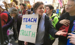 Teachers protest outside the Department for Education in London against what they say is the government's lack of action on climate change