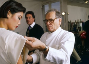Cardin prepares his spring/summer 1987 collection in Paris