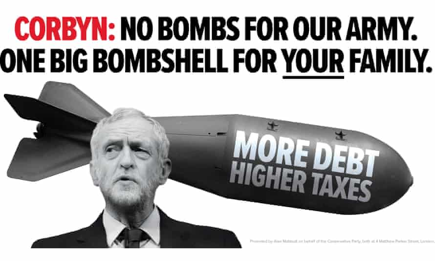The Conservatives' poster warning of a Corbyn 'tax bombshell'.