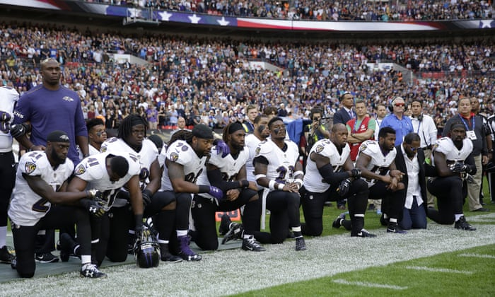 eb9cc8231fa NFL players kneel for anthem in unprecedented defiance of Trump | US news |  The Guardian