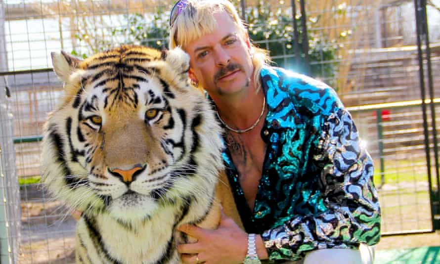 Joe Exotic, star of the Netflix show Tiger King, with one of his animals