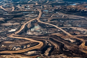 Aerial view of a cocktail of toxic chemicals and hydrocarbons at Tar Pit #4, Alberta Tar Sands, Canada