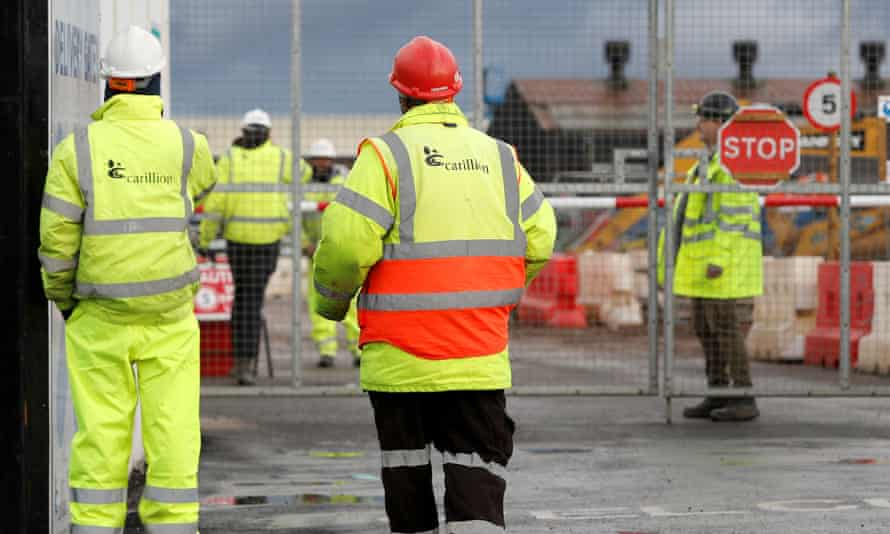 Workers locked out of Carillion's Midland Metropolitan hospital construction site.