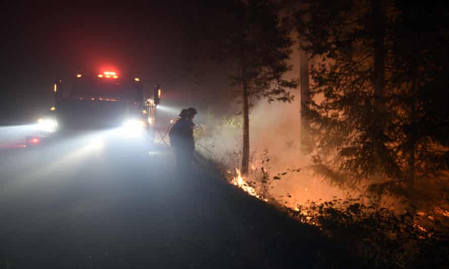 Fire crews monitor controlled burns in the El Dorado national forest.