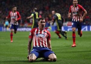 Atletico Madrid's Jose Gimenez celebrates scoring their first goal.
