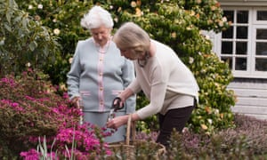 Judi Waymouth helping a client with gardening.