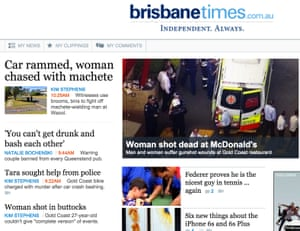 The front page of the Brisbane Times website on Thursday.