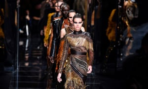 Models at the Balmain show during Paris fashion week.