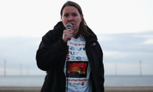 Labour MP for Redcar Anna Turley addressing steelworkers and their families.