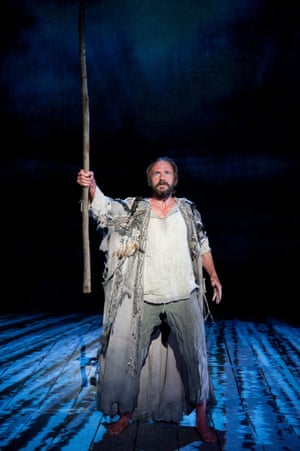 Ralph Fiennes as Prospero in Trevor Nunn's The Tempest by Shakespeare at the Theatre Royal Haymarket. Designed by Stephen Brimson-Lewis, with lighting by Paul Pyant, 2011.