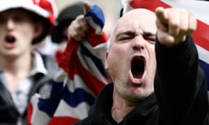 English Defence League supporters demonstrate in Bradford.