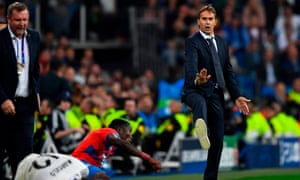 That's all folks? The future of Julen Lopetegui (right) as the Real Madrid manager looks bleak despite victory at the Bernabéu over the Czech side Plzen.