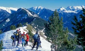 A group of hikers in the snowy Pyrenees