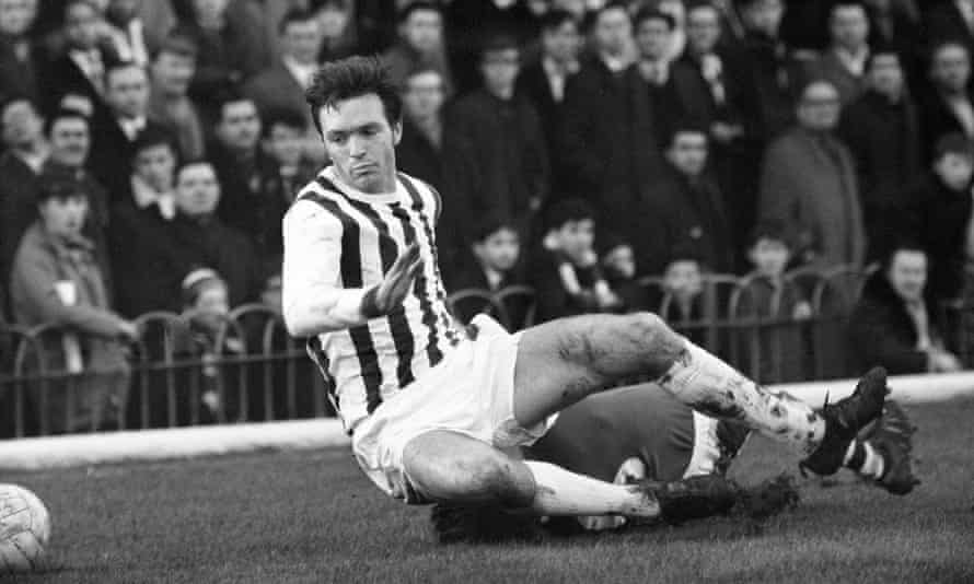 Jeff Astle, pictured in action for West Brom against Arsenal in December 1968, died in 2002 but a 2014 autopsy uncovered the presence of chronic traumatic encephalopathy.