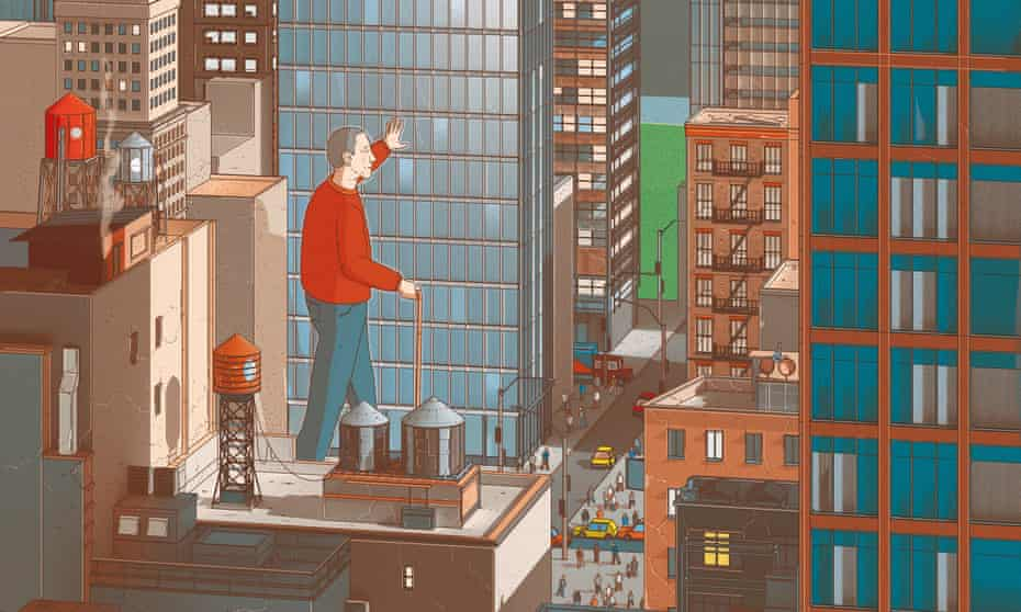 Illustration of a man on a rooftop in New York