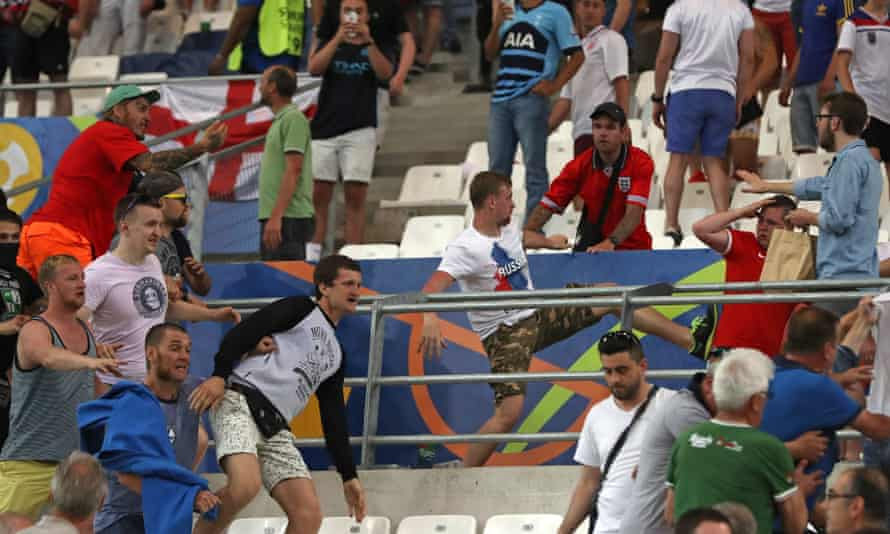 Russian supporters attack England fans after a European Championship match in Marseille, 2016