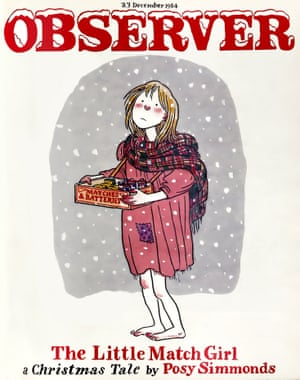 Posy Simmonds has been producing illustrations and cartoons for the Guardian since 1972. This resource focussed on festive pieces in the GNM collection. Observer magazine cover, 23 December 1984, featuring Posy Simmonds' artwork for her retelling of The Little Match Girl.
