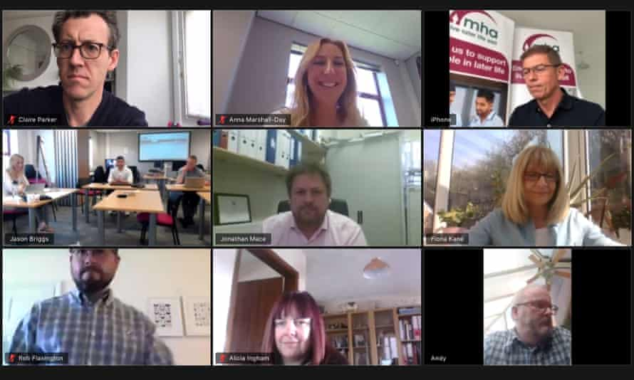 Screengrab of staff on Zoom conference