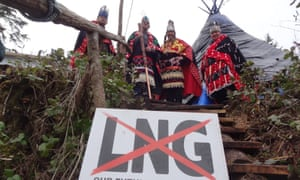Indigenous leaders gather on Lelu island where the Lax Kw'alaams First Nation has set up camp to protest the construction of the Petronas LNG terminal.