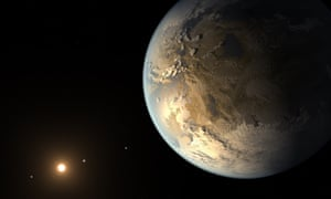 An artist's depiction of Kepler-186f, the first validated Earth-size planet to orbit a distant star in the habitable zone.