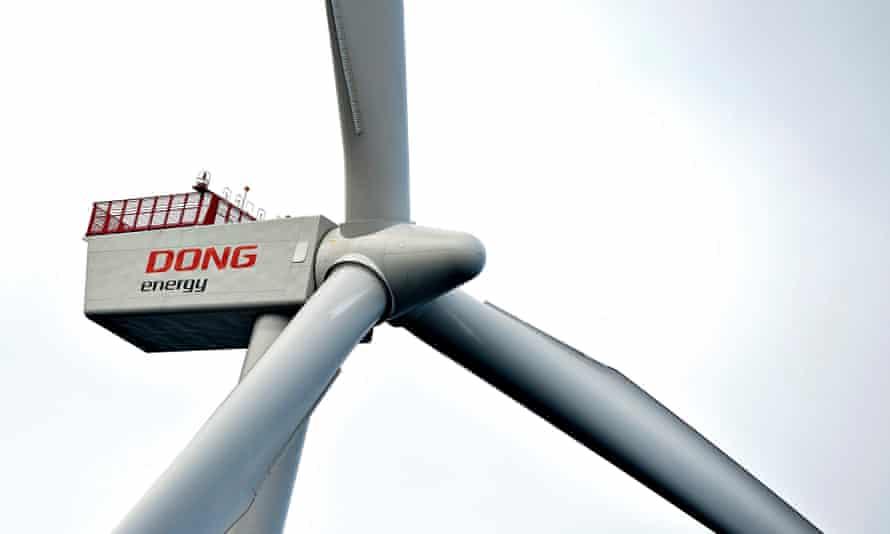 A wind turbine at a Dong Energy windfarm in Aalobrg, Denmark