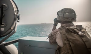US Marines on the USS John P Murtha in the strait of Hormuz this month.