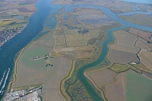 Aerial image of RSPB Wallasea Island Nature Reserve at high tide