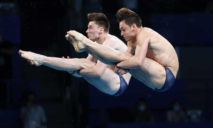 Tom Daley and Matty Lee of Team GB compete during the men's synchronised 10m platform final on day three of the Games