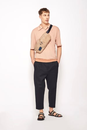 Oversized pink polo shirt, £25.99, navy  chinos, £39.99, woven strap sandals, £39.99,  and sporty belt bag, £25.99, all zara.com