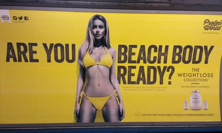 A Protein World advert on the London underground elicited a petition calling for their removal gathered tens of thousands of signatures.