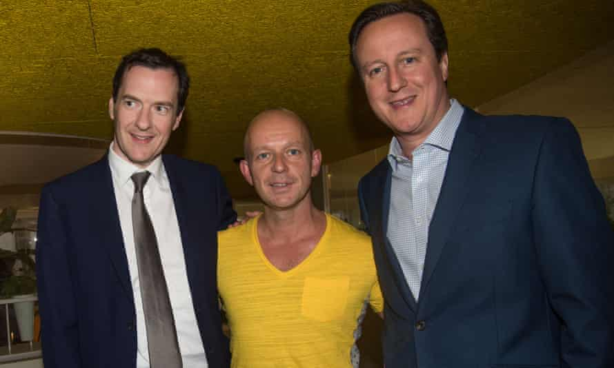 Hilton with George Osborne and David Cameron in 2015. The severing of relations since has been 'their choice. I don't think about it.'