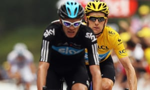 Chris Froome leads teammate Bradley Wiggins over the line on stage 17 of the 2012 Tour de France.