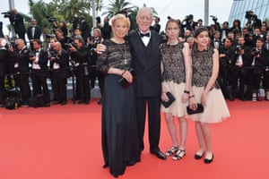 Max von Sydow with his second wife, Catherine Brelet, and their grand-daughters at the premiere of Roald Dahl's The BFG at Cannes Film Festival on 14 May 2016
