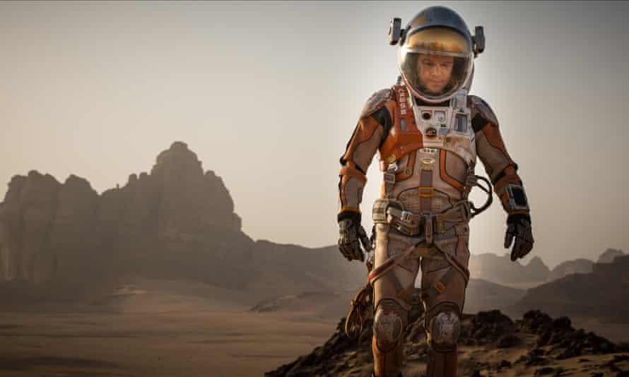 Matt Damon in a space suit on 'Mars' in The Martian.
